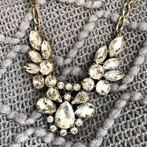 Jewelmint Aged Brass & Stone Statement Necklace